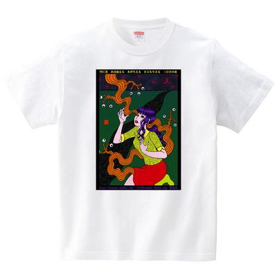 うらなか書房のシュールなTシャツ「目玉も生える 三日月の夜」(Tシャツ・ホワイト)(うらなか書房)