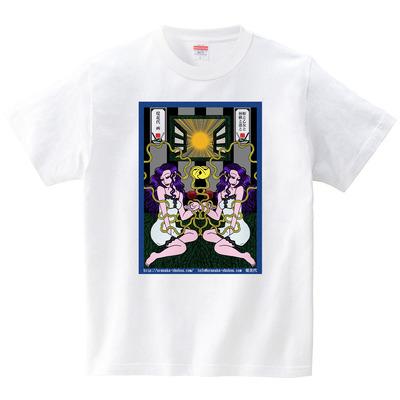 うらなか書房のシュールなTシャツ「蛭と乙女と林檎と窓と」(Tシャツ・ホワイト)(うらなか書房)