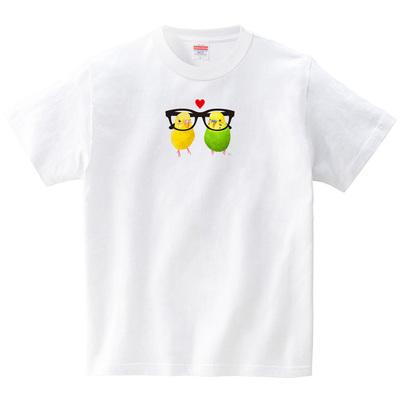 めがねインコ/イエロー&グリーン(Tシャツ・ホワイト)(イシイミホ)