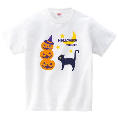 かぼちゃお化けと猫(Tシャツ・ホワイト)(あずき*)