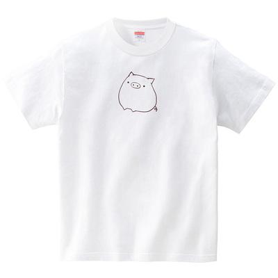 まんまるブタさん(Tシャツ・ホワイト)(あいはらせと)