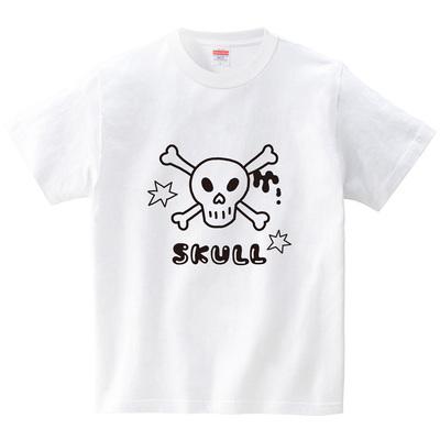ハテナポップ ドクロ1(Tシャツ・ホワイト)(tsukamotojunko)