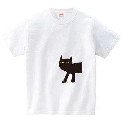クロネココンニチハ(Tシャツ・ホワイト)(CHATON_CATON_T)