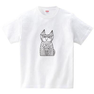 ネコの置物(Tシャツ・ホワイト)(CHATON_CATON_T)