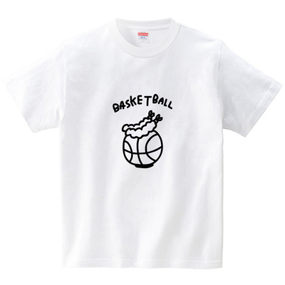 バスケットボールに海老天(Tシャツ・ホワイト)(オワリ)