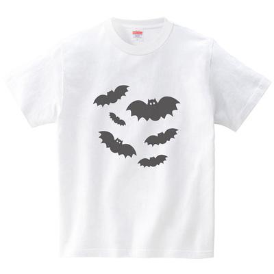 コウモリさん達(Tシャツ・ホワイト)(CHATON_CATON_T)