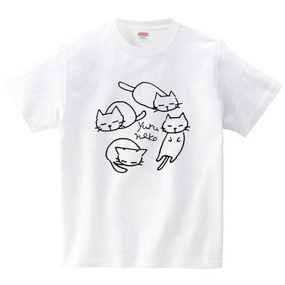 ゆるねこ(Tシャツ・ホワイト)(あずき*)