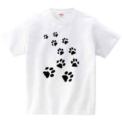 猫の足あと(Tシャツ・ホワイト)(筆文字屋 みやT)